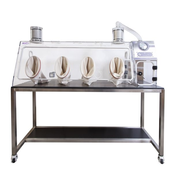 pharmaceutical safety glovebox cabinet with stainless steel bench and a transfer chamber