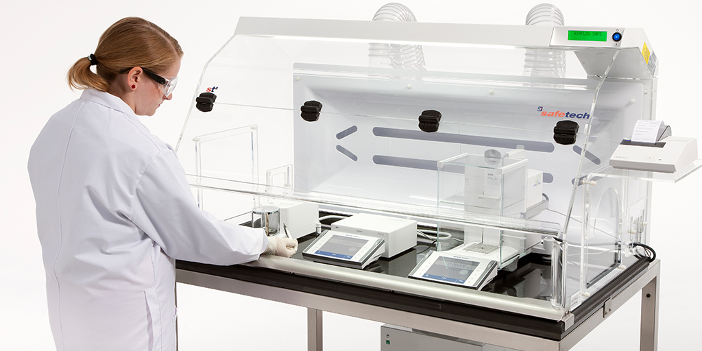 Laboratory Safety Powder Weighing Enclosure with balance equipment